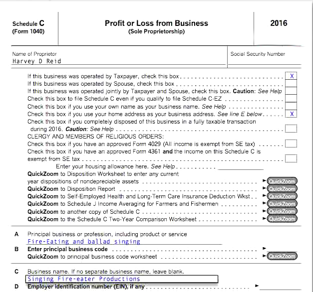 Schedule C Form. Form 1040 Schedule C Profit Or Loss From Business
